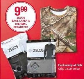 Belk Black Friday: Zelos Men's Base Layer & Thermal Separates for $9.99