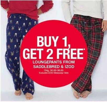 Belk Black Friday: Loungepants from Saddlebred and IZOD - B1G2 Free