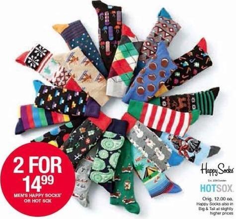 Belk Black Friday: Men's Socks from Happy Socks and Hot Sox - 2 for $14.99