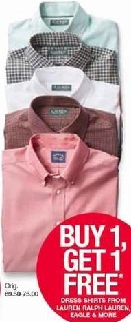 Belk Black Friday: Men's Dress Shirts from Lauren Ralph Lauren, Eagle and More - B1G1 Free