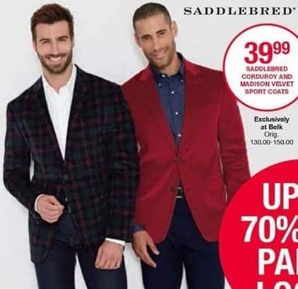 Belk Black Friday: Saddlebred Men's Corduroy for $39.99