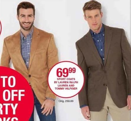 Belk Black Friday: Men's Sport Coats from Lauren Ralph Lauren and Tommy Hilfiger for $69.99