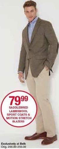 Belk Black Friday: Saddlebred Men's Lambswool Sport Coats and Motion Stretch Blazers for $79.99