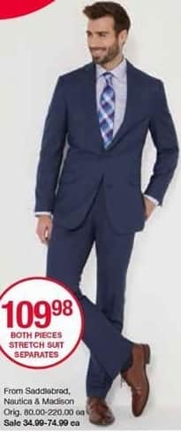 Belk Black Friday: Both Pieces Men's Stretch Suit Separates from Saddlebred, Nautica and Madison for $109.98