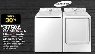 Sears Black Friday: Samsung 4.0-cu. ft. Top-Load Washer for $379.99
