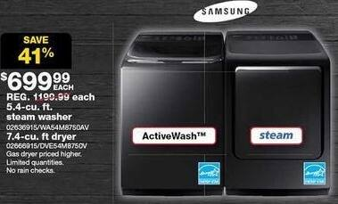 Sears Black Friday: Samsung 5.4-cu. ft. Top-Load Steam Washer for $699.99