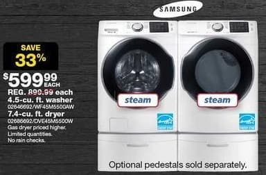 Sears Black Friday: Samsung 7.4-cu. ft. Front-Load Electric Dryer for $599.99