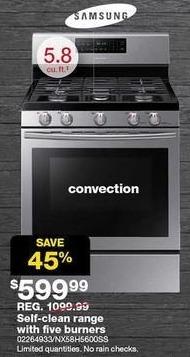 Sears Black Friday: Samsung 5.8-cu. ft. Self-Clean Five Burner Range for $599.99