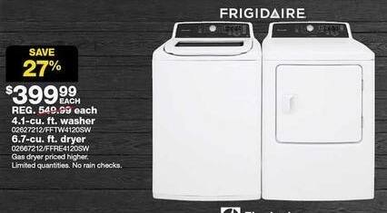 Sears Black Friday: Frigidaire 4.1-cu. ft. Top Load Washer for $399.99