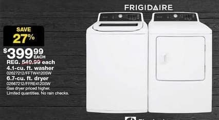 Sears Black Friday: Frigidaire 6.7-cu. ft. Front Load Electric Dryer for $399.99