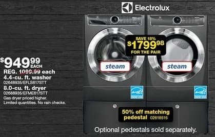Sears Black Friday: Electrolux 4.4-cu. ft. Steam Washer and 8.0-cu. ft. Electric Dryer for $1,799.98