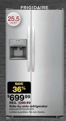 Sears Black Friday: Frigidaire 25.5 cu. ft. Side-by-Side Stainless Steel Refrigerator for $699.99
