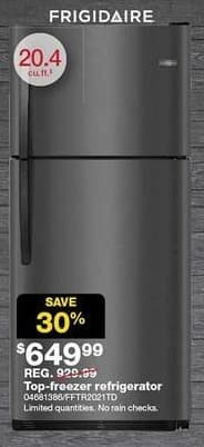 Sears Black Friday: Frigidaire 20.4 cu. ft. Top-Freezer Black Stainless Refrigerator for $649.99