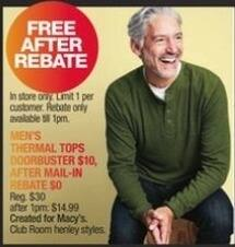 Macy's Black Friday: Club Room Men's Thermal Top for Free after $10 rebate