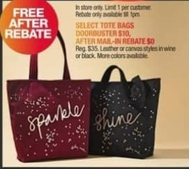 Macy S Black Friday Select Tote Bags For Free After 10 Rebate
