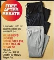 Macy's Black Friday: Ring of Fire Men's Joggers for Free after $10 rebate