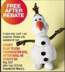 Macy's Black Friday: Disney Olaf Plush Doll for Free