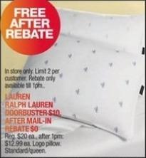 Macy's Black Friday: Lauren Ralph Lauren Queen Pillow for Free after $10.00 rebate