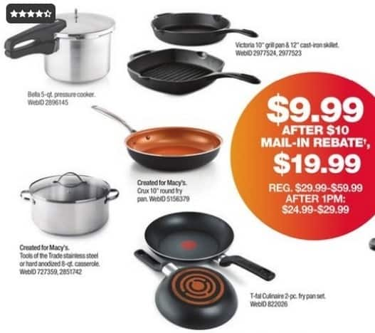 "Macy's Black Friday: T-Fal Culinaire 8"" & 10"" Fry Pan Set for $9.99 after $10.00 rebate"