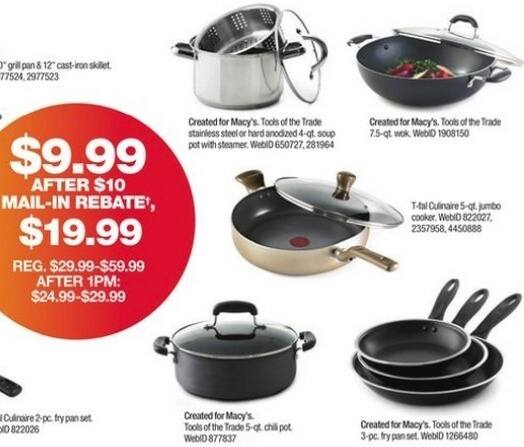 "Macy's Black Friday: Tools of the Trade 8"", 9"" and 11"" Fry Pan Set for $9.99 after $10 rebate"