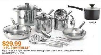 Macy's Black Friday: Tools of the Trade Stainless Steel 13-Pc. Cookware Set for $29.99