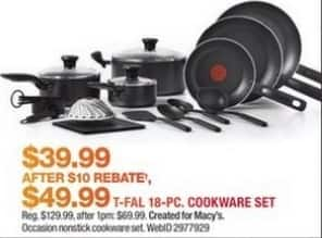 Macy's Black Friday: T-Fal 18-Pc. Initiatives Non-Stick Cookware Set for $39.99 after $10 rebate