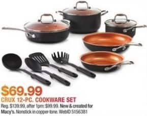 Macy's Black Friday: Crux 12-Pc. Copper Titanium Nonstick Cookware Set for $69.99