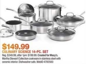 Macy's Black Friday: Culinary Science by Martha Stewart Collection 14-Pc. Cookware Set for $149.99
