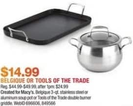 "Macy's Black Friday: Tools of the Trade 11"" x 18"" Double Burner Griddle for $14.99"