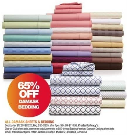 Macy's Black Friday: All Damask Sheets and Bedding - 65% Off