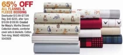 Macy's Black Friday: All Flannel and Fleece Bedding - 65% Off
