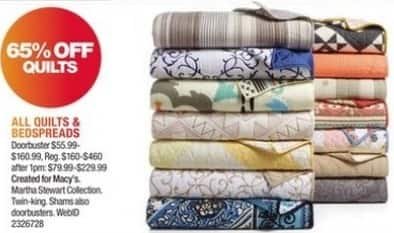 Macy's Black Friday: All Quilts and Bedspreads - 65% Off