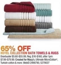 Macy's Black Friday: Hotel Collection Bath Towels and Rugs - 65% Off