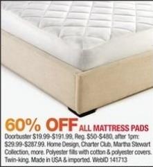 Macy's Black Friday: All Mattress Pads - 60% Off
