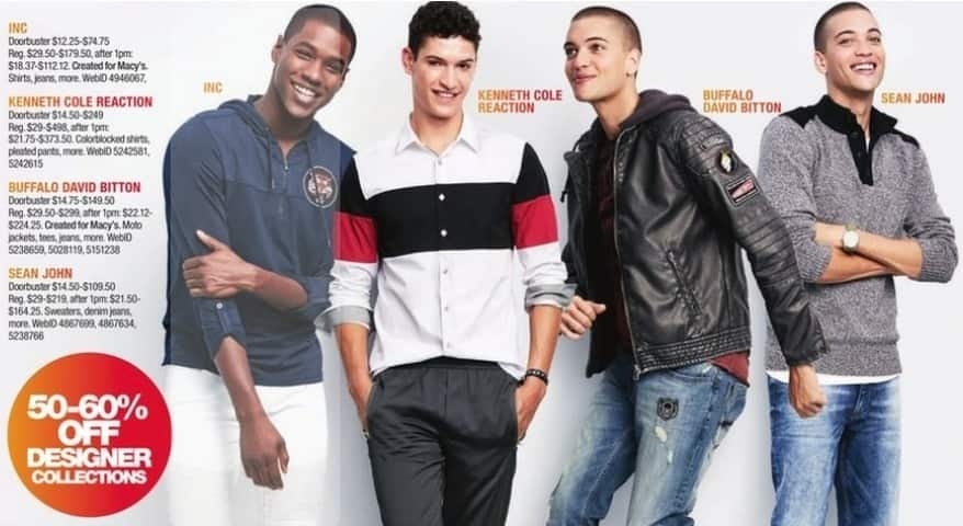 Macy's Black Friday: Designer Collections from INC, Kenneth Cole Reaction, Buffalo David Bitton, and Sean John - 50 - 60% Off