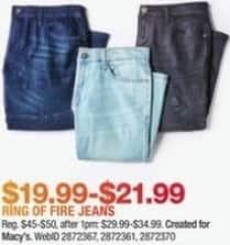 Macy's Black Friday: Ring of Fire Men's Jeans for $19.99 - $21.99