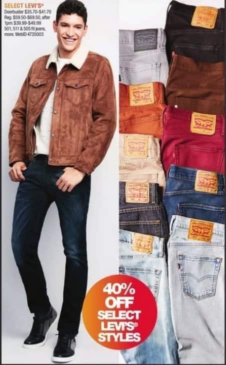 Macy's Black Friday: Select Men's Levi's Jeans in Select Styles - 40% Off