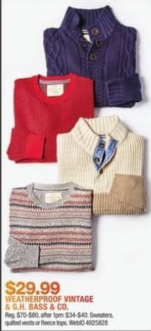 Macy's Black Friday: Sweaters, Quilted Vests and Fleece Tops from Weatherproof Vintage and G.H. Bass & Co. for $29.99