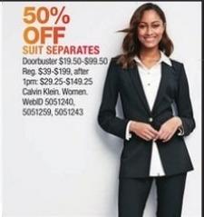 Macy's Black Friday: Calvin Klein Women's Suit Separates - 50% Off