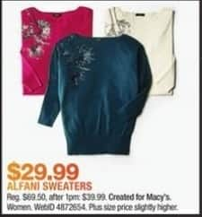 Macy's Black Friday: Alfani Women's Sweaters for $29.99