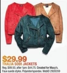 Macy's Black Friday: Thalia Sodi Women's Jacket for $29.99