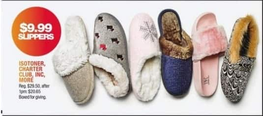 Macy's Black Friday: Women's Slippers from Isotoner, Charter Club, INC and More for $9.99