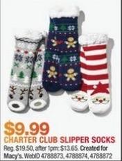 Macy's Black Friday: Charter Club Slipper Socks for $9.99