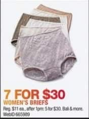 Macy's Black Friday: Women's Briefs from Bali and More, 7 Pk. for $30.00