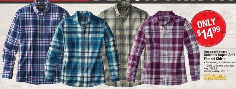 Cabelas Black Friday: Cabela's Men's and Women's Super-Soft Flannel Shirts for $14.99
