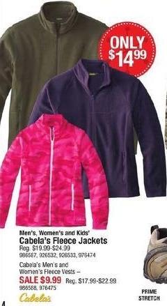Cabelas Black Friday: Cabela's Men's, Women's and Kids' Fleece Jackets for $14.99