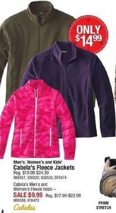 Cabelas Black Friday: Cabela's Men's and Women's Fleece Vests for $9.99