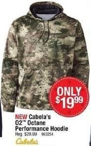 Cabelas Black Friday: Cabela's Men's O2 Octane Performance Hoodie for $19.99