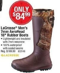 """Cabelas Black Friday: LaCrosse Men's 7mm AeroHead 18"""" Rubber Boots for $84.99"""