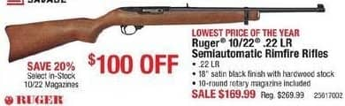 Cabelas Black Friday: Ruger 10/22 .22 LR Semiautomatic Rimfire Rifle for $169.99